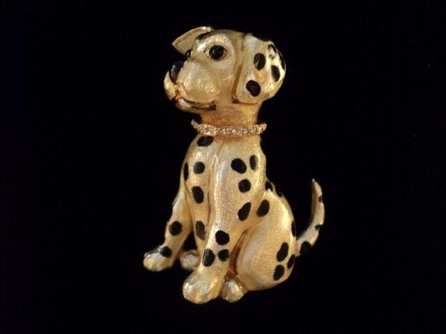 Carolee Dalmation Dog with a Clear Crystal Swarovski Dog Collar Brooch Pin