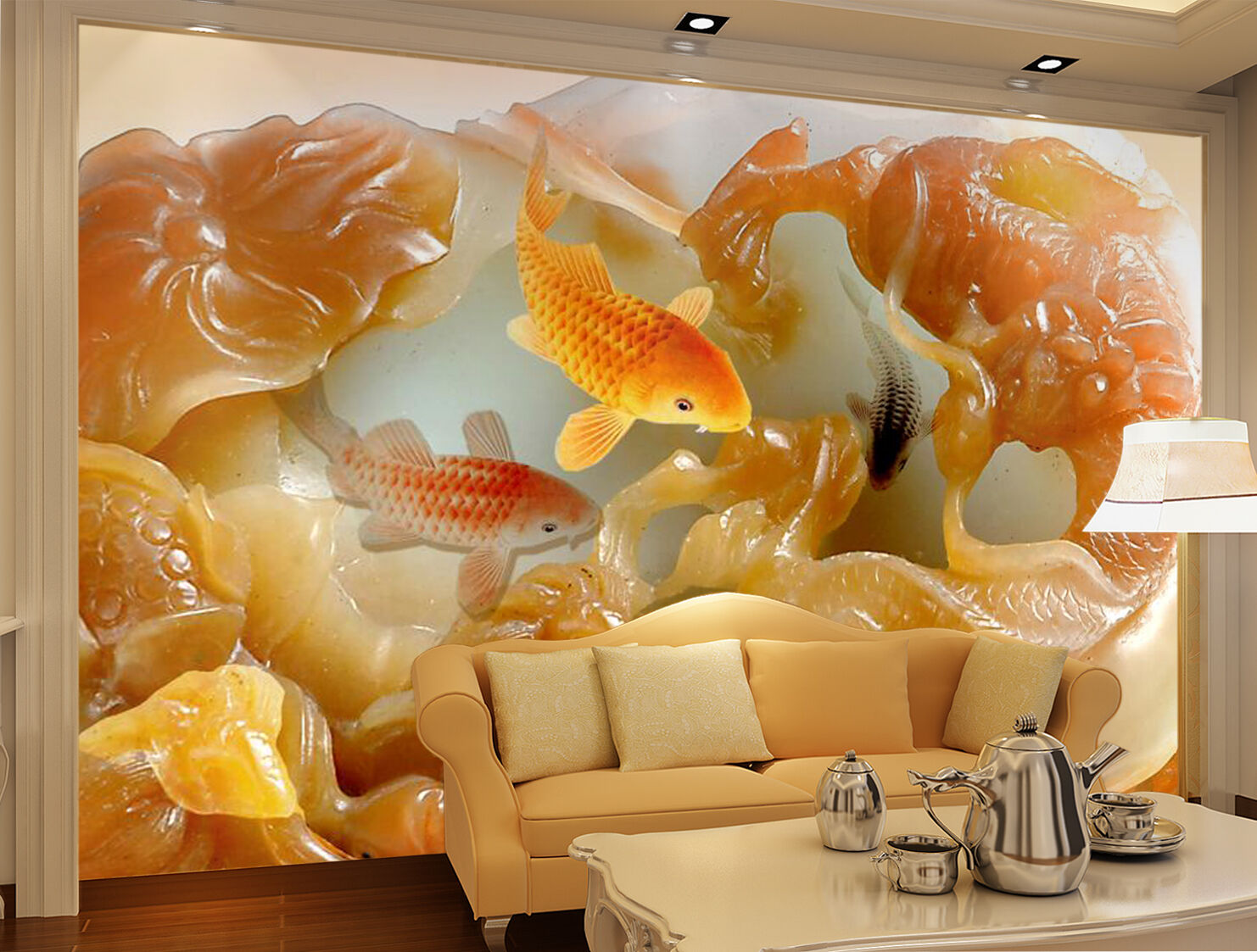 3D Fish carving texture Wall Paper wall Print Decal Wall Deco Indoor wall Mural
