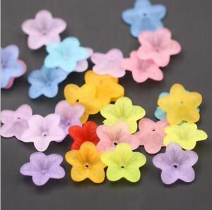 100pcs-Acrylic-Frosted-flowers-Spacer-Beads-Caps-Jewelry-Accessories-18mm-diy