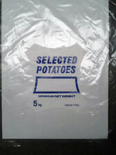 "500 x Clear 5 KG Potato Bags 14x19"" Printed Plastic Bag 38 micron 120 guage"