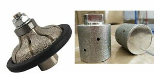 "3//8/"" Radius /& Bevel Bullnose Diamond Router Bit 2/"" Zero Tolerance Drum Granite"