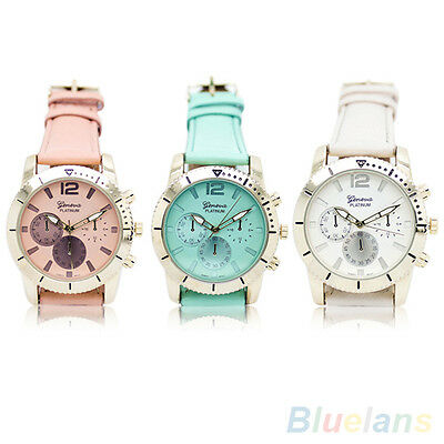 Unisex Women's Men's Fashion Geneva Faux Leather Band Analog Quartz Wrist Watch