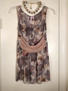 Anthropologie-SWEET-PEA-by-STACY-FRATI-Mauve-amp-Taupe-Mesh-Top-Sz-M-6-8-MINT