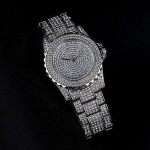 Watch Fully Iced Out MENS Silver Shiny Bling Bling Ice Diamond Shine ... 27dd716a95