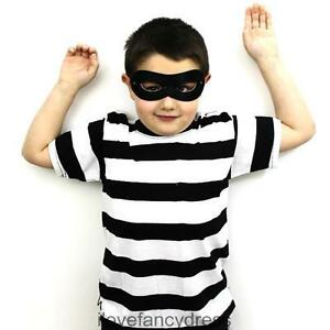 KIDS-BURGLAR-ROBBER-STRIPED-BLACK-WHITE-TOP-MASK-FANCY-DRESS-COSTUME-SET-6-16