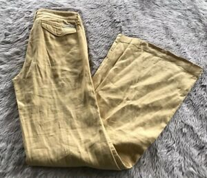 Anthropologie-Level-99-Yellow-Mid-Rise-Button-Pocket-Wide-Leg-Pants-Women-s-25
