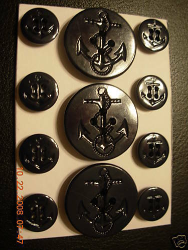 Nautical Anchor RALPH LAUREN  PEACOAT BUTTON SET 5/8/1&1 /4 4 Hole NAVY 11 pc