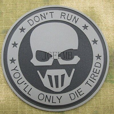 Dark Ghost OPS Don't Run Military Morale Tactics 3D PVC Velcro Patch Badges