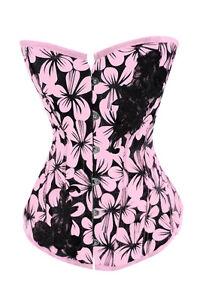 Elegant-Pink-Floral-Corset-Bustier-Lingerie-M-L-XL-2XL