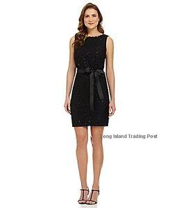 792dd29c6b1 R M Richards Black Sequined Lace Blouson Dress Evening Wedding ...
