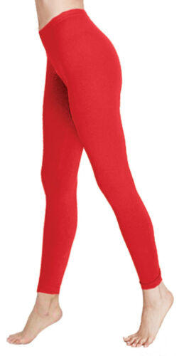 New Ladies Girls Skinny Red Cotton Yoga Fitness Jogging Gym Stretchy Leggings