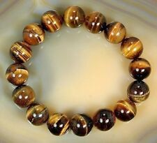 Natural Tiger's Eye Stone Bracelet 12mm Big Yellow Round Bead Bracelet