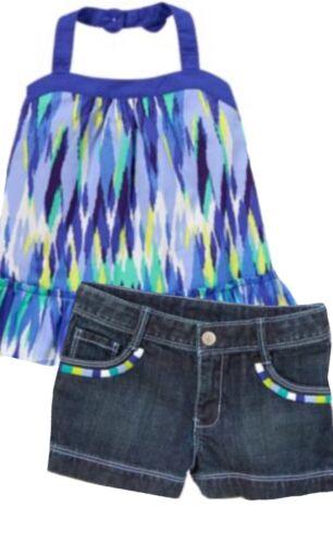 Gymboree Sparkle Safari 5 6 8 10 12 Blue Ikat Top /& Denim Shorts Set 14
