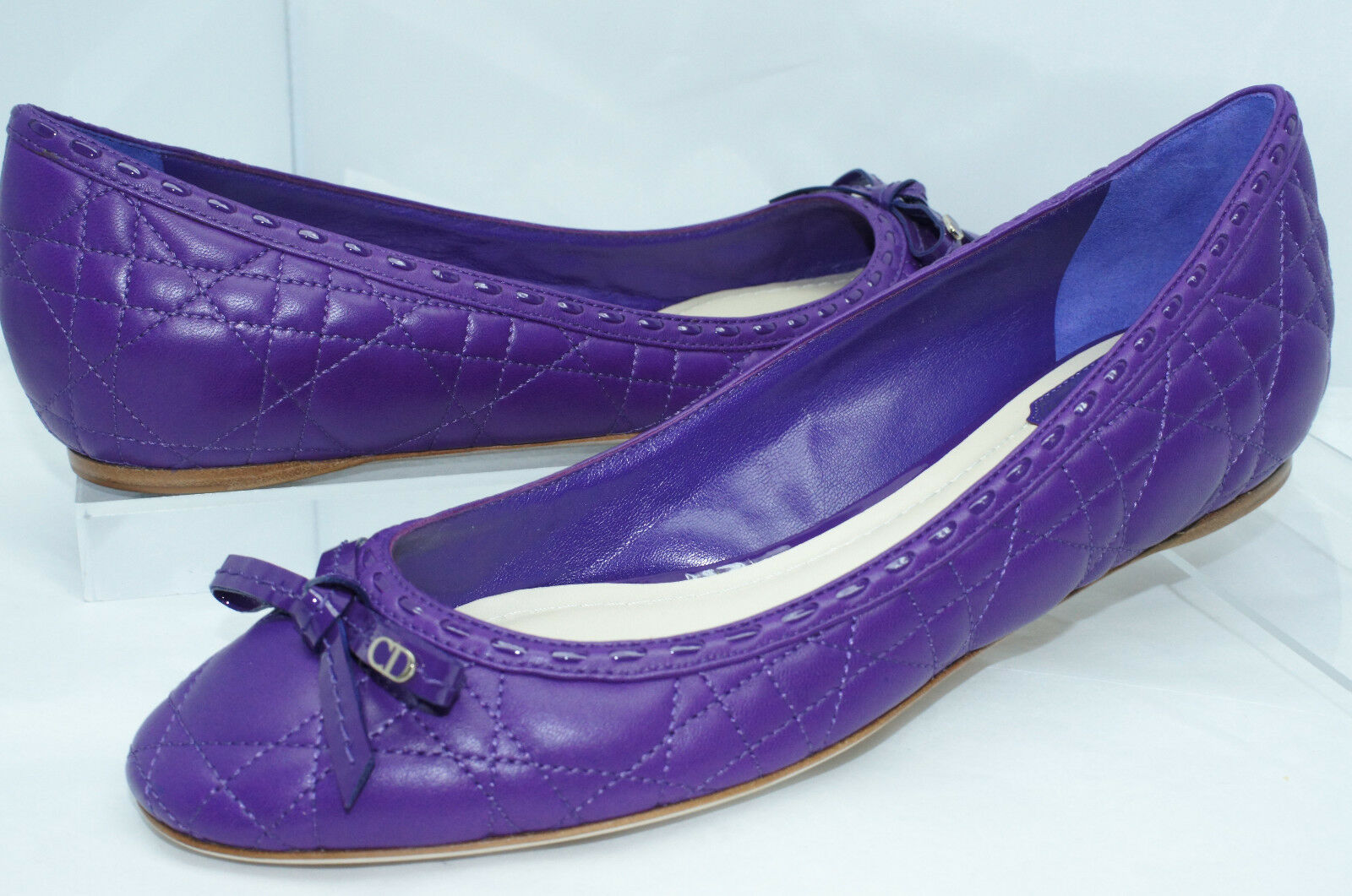 New Christian Dior shoes Ballerina Flats Size 38.5 Women's Purple Sale Gift