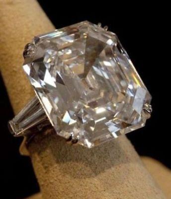 25CT 16x13 MM ASSCHER CUT ELIZABETH TAYLOR INSPIRED 925 SILVER ENGAGEMENT RING