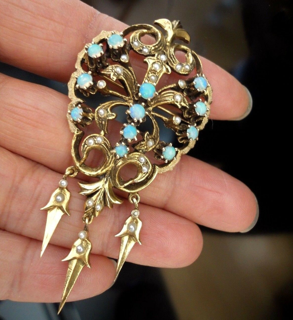Statement Large Victorian 14K Yellow gold Opal Seed Pearl Pin Brooch + Pendant