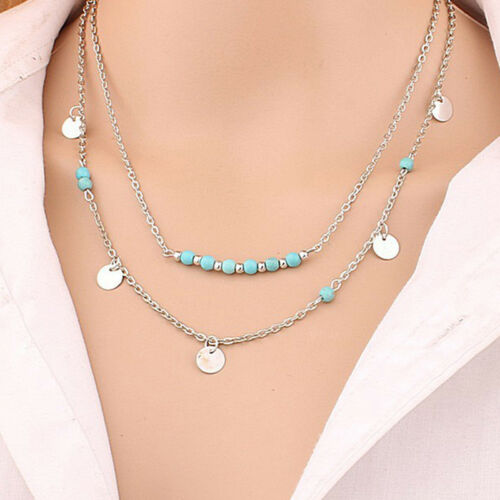 New Vogue Ladies Alloy Beads Chain Sequins Multi Layer  Necklace Accessory S8