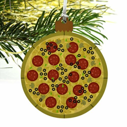 Pepperoni Pizza with Cheese Olives Wood Christmas Tree Holiday Ornament