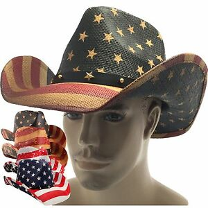 eb7cb177 Details about MEN'S USA AMERICAN FLAG COWBOY HAT VINTAGE Tea Stain SHAPE-IT  BRIM US Western