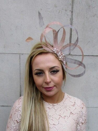 Rose Gold Nude Grey Sinamay Feather Hair Fascinator Headband Races Wedding 5212