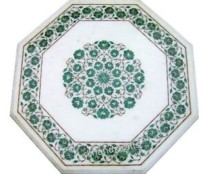 27 Inches Marble Coffee Table Top Inlay with Malachite Gemstones Sofa Table Top