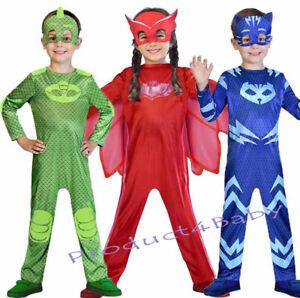 Boys Girl Kids Superhero PJ Masks Costume Cape Mask Owlette Catboy Cosplay Party
