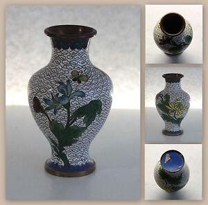 Cloissone-Emaille-Vase-Blumenvase-Jugendstil-Art-Deco-ca-11x6-cm-Metalvase-xz