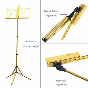 Paititi-High-Quality-Durable-Adjustable-Folding-Music-Stand-with-Bag-Gold-Color