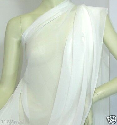 real silk sheer crepe chiffon Georgette fabric off white by the meter