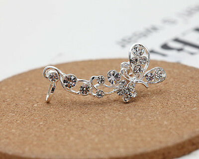 Charm Women's Earring Crystal Butterfly Flower Warp Clip Ear Cuff Stud Gift Hot