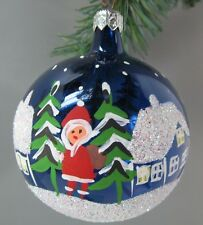 "Glass 186 Ornament Round 3"" dia. Painted Snow Scene Snowman & Santa Poland Vinta"