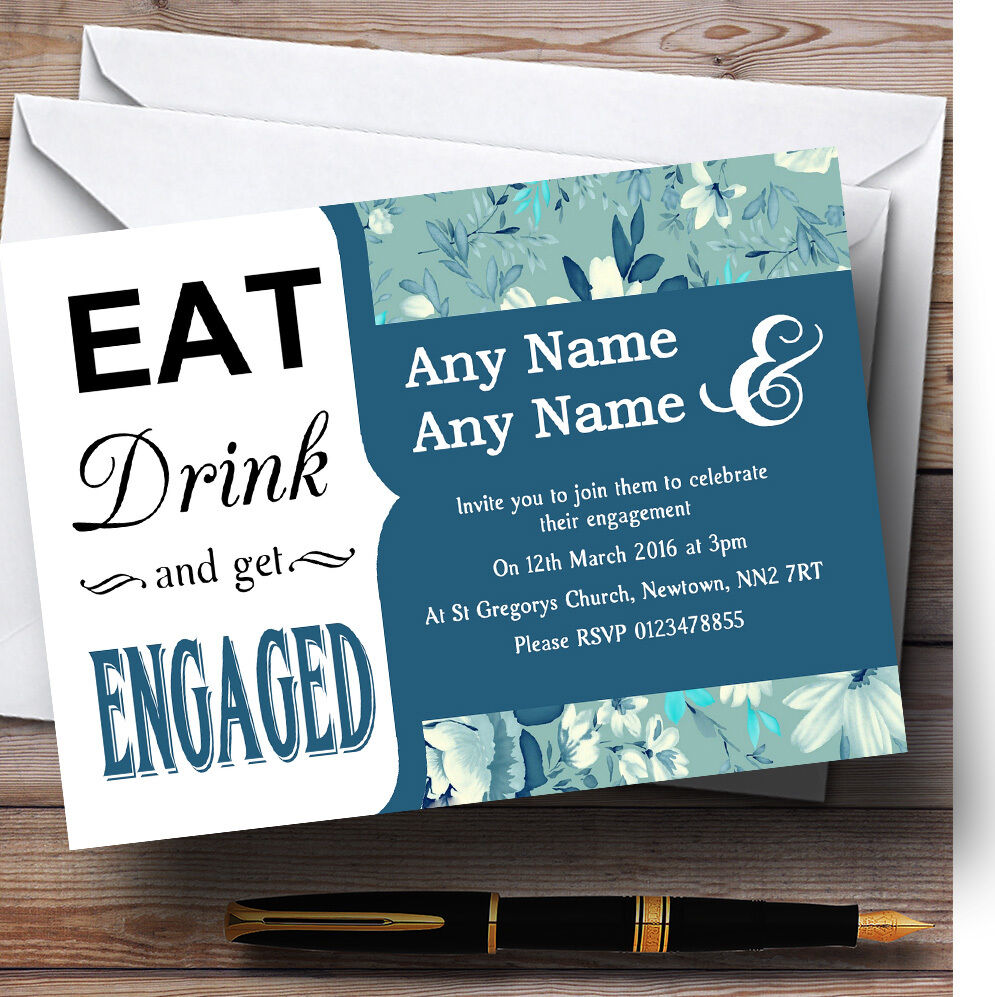 Pale Turquoise bluee Vintage Eat Drink Personalised Engagement Party Invitations