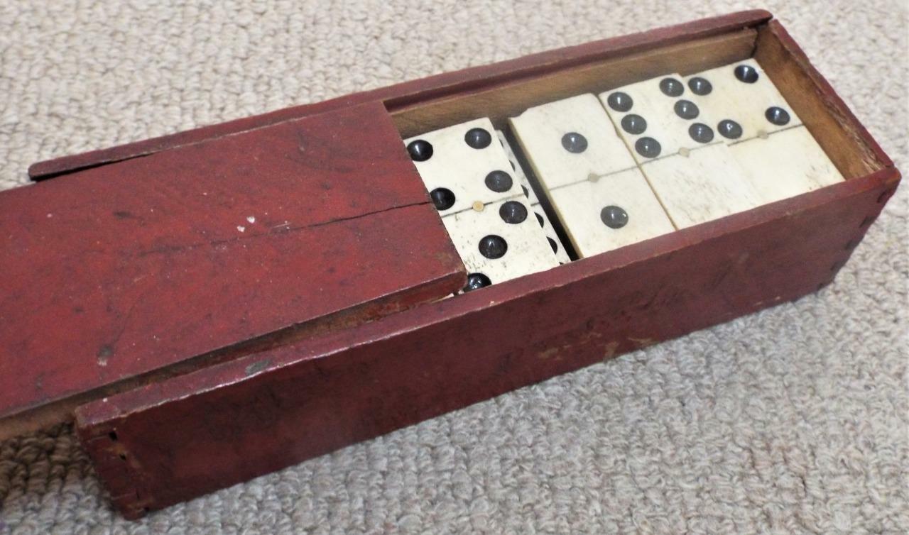 Civil War Era Antique c1865 Box Set of Bone & Ebony Dominoes with Brass Pins
