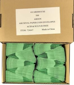 2x2 Paper Coin Envelopes Safe Archival Green Bulk Box 500 Acid Free