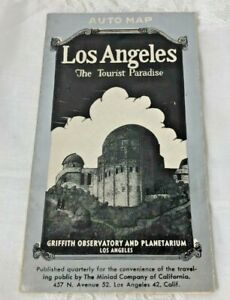1940s Los Angeles CA Folding Auto Map The Tourist Paradise Griffith Observatory