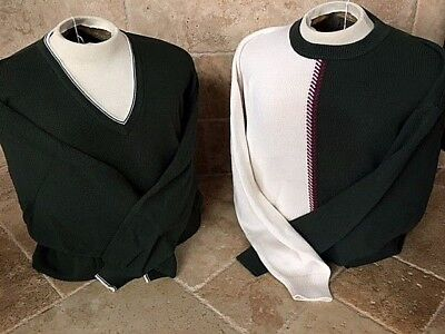 New NWT Mens Pringle Crewneck XL White and Black Sweater Retails For $90.00
