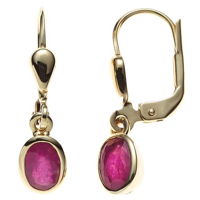 Damen Boutons 585 Gold Gelbgold 2 Rubine Ohrringe Ohrhänger Goldohrringe