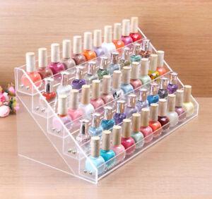 5 Display Clear Rack Acrylic Make Up Case Nail Polish Storage Organizer Stand