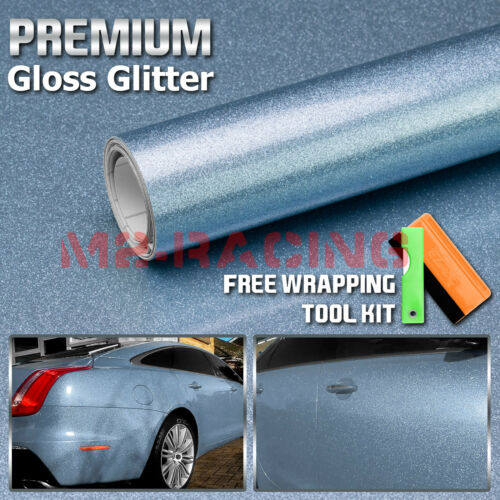 """*60/""""x60/"""" High Gloss Glitter Light Blue Sparkle Car Vinyl Wrap Sticker Decal Film"""
