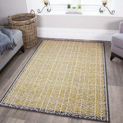 Modern Ochre Yellow Herringbone Living Room Rugs Zigzag Chevron Area Rug Sale Uk Ebay