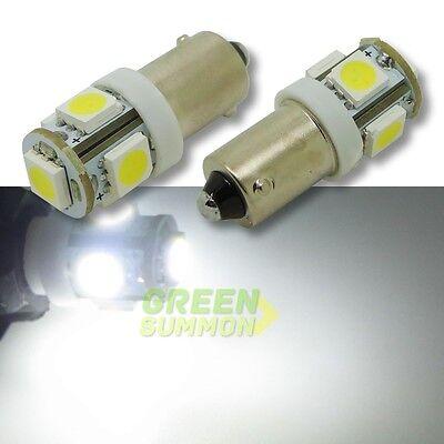 2x H6W BAX9S LED 5 SMD White lights 6000K Corner Signal Reading Map Bulbs DC 12V