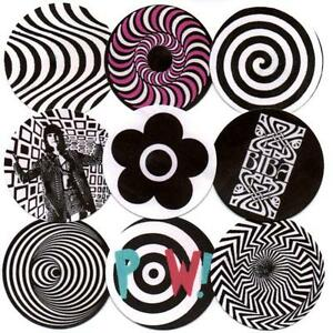 BIBA & MARY QUANT BADGES + 7.  POP ART, OP-ART, MOD, 60's FASHION.