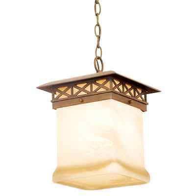 Walnut And Antique White Glass Large Exterior Hanging Light
