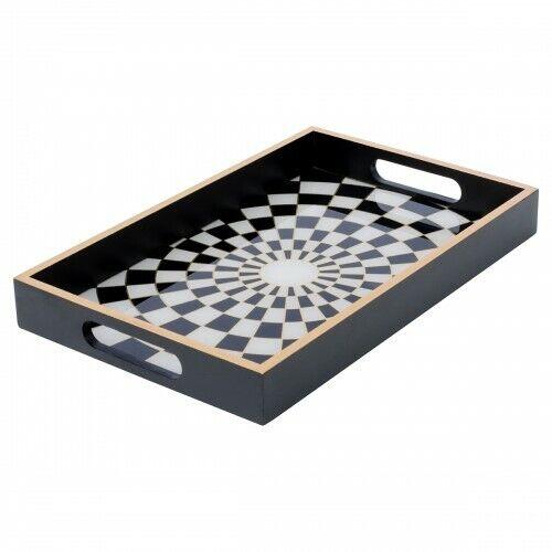 Rectangulaire Noir Et Blanc à Damiers verre Serving Plateaux 2 tailles disponibles