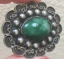 Vintage Antique Mexican Sterling Silver Green Jade Pin