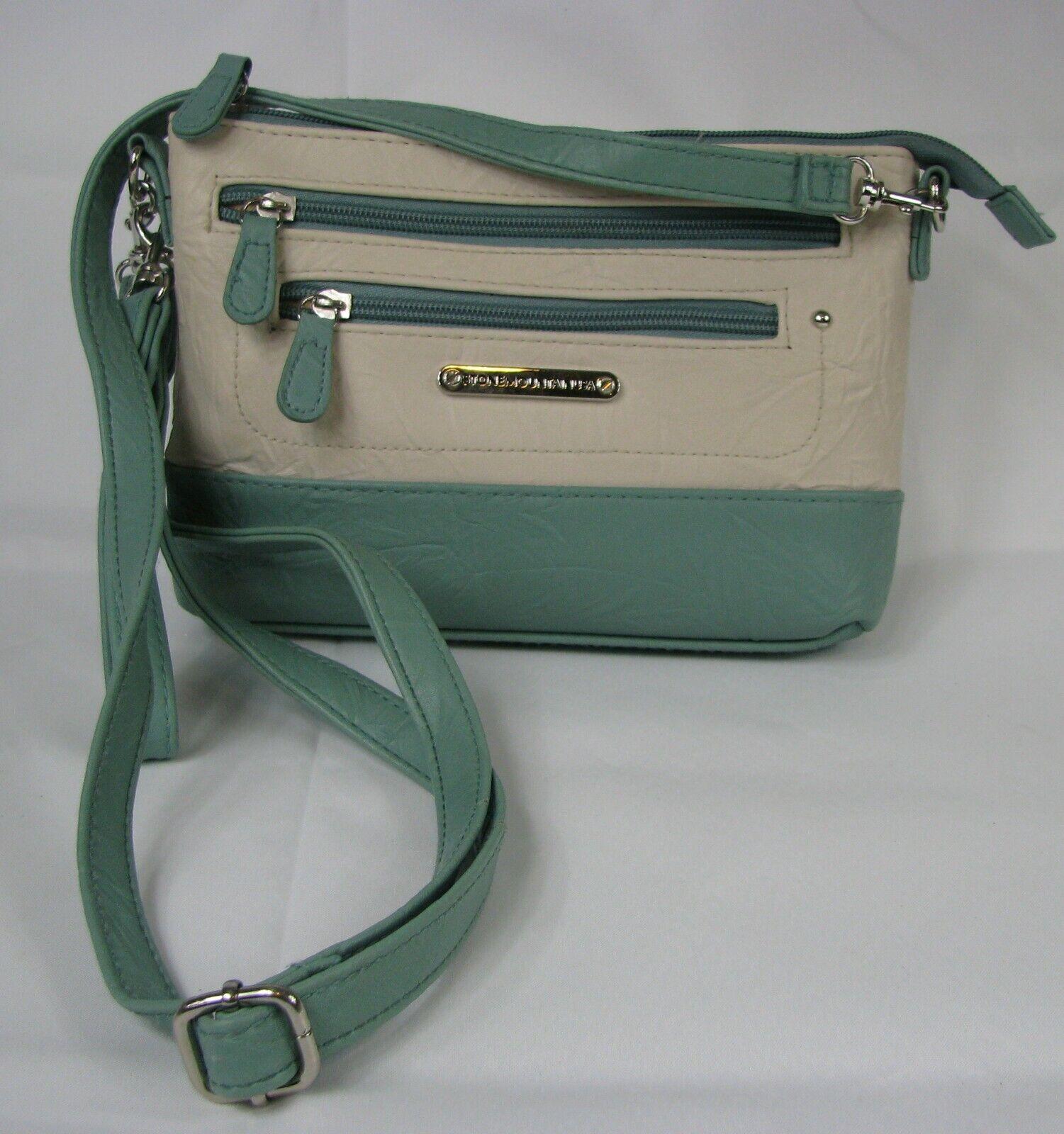Stone Mountain Green & Cream Crossbody PURSE Shoulder Bag Handbag