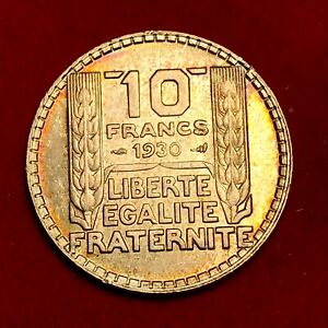 1867-RARE-10-francs-Turin-1930-SUP-SPL-ARGENT-SUP-Belle-patine-FACTURE
