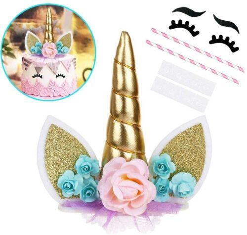 Unicorn Birthday Cake Topper Multicolour Horn Ears Eyelash Party Decoration NEW