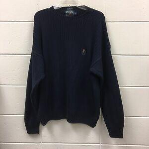 Chaps-Ralph-Lauren-Mens-Sweater-Sz-XL-Navy-Blue-Knit-Long-Sleeve-Crewneck