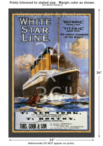 matted Titanic White Star Line Travel Poster 6 sizes, matte+glossy avail